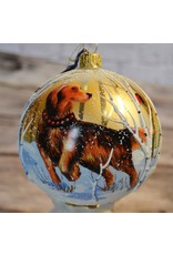 Glass Dog in Snow Ball Ornament