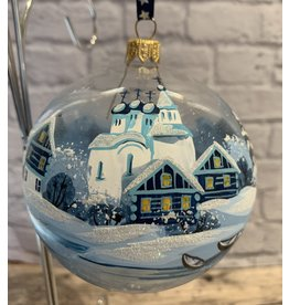 Glass Ball Winter Landscape Ornament