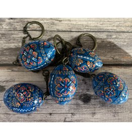 Blue Ukrainian Egg on Antiqued Key Ring