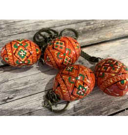 Orange Ukrainian Egg on Antiqued Key Ring