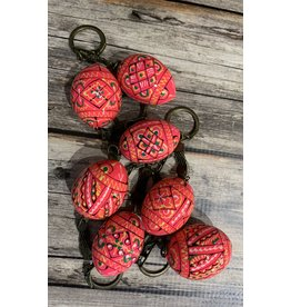 Pink Ukrainian Egg on Antiqued Key Ring