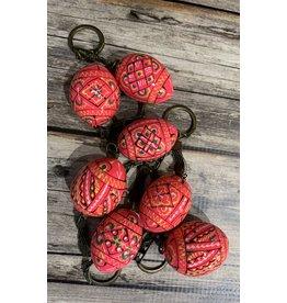 Pink Ukrainian Egg on Antiqued Key Ring