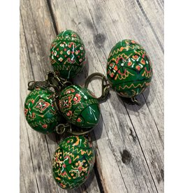 Forest Green Ukrainian Egg on Antiqued Key Ring