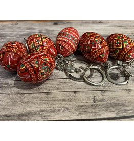 Red Ukrainian Egg on Silver Key Ring