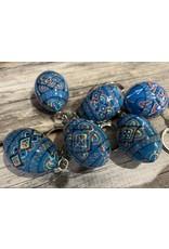 Blue Ukrainian Egg on Silver Key Ring