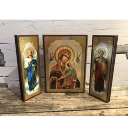 Virgin and Child Russian Triptych Icon (Red)