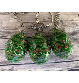Lime Green Ukrainian Egg on Silver Key Ring