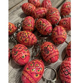 Pink Ukrainian Egg on Silver Key Ring