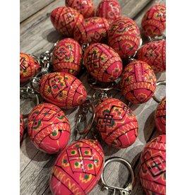 Pink Ukrainian Egg on Silver Key Ring