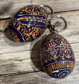 Purple Ukrainian Egg on Silver Key Ring