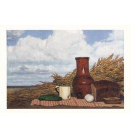 """Korzhev """"Lunch in a Field"""" Postcard"""