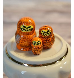 Mini Matryoshka Orange Owl (Five-Piece)