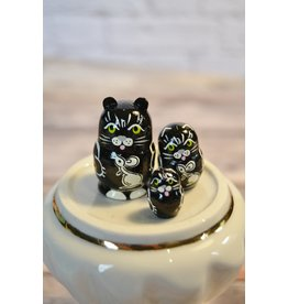 Mini Matryoshka Black Cat (Five-Piece)