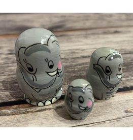 Mini Matryoshka Gray Elephant (Five-Piece)