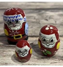 Mini Matryoshka Santa (Five-Piece)