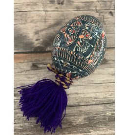 Ukrainian Pysanka Ornament (Blue and Purple)
