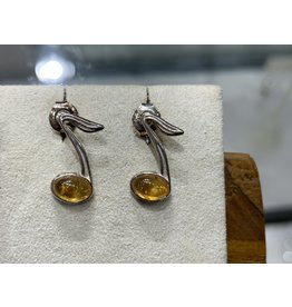 Amber Music Note Studs