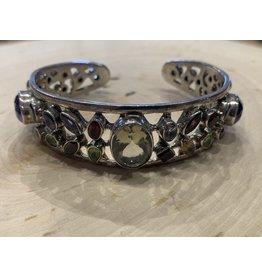 Silver Cuff Bracelet with Jewels
