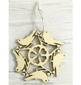 Birch Bird Snowflake Ornament