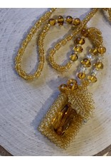 Beaded Amber Frame Necklace