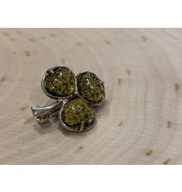 Green Amber Shamrock Pin