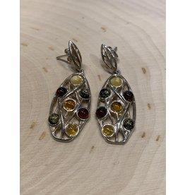 Oval Lattice Amber Earrings