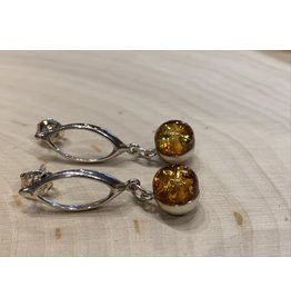 Round Amber Earrings (Small)