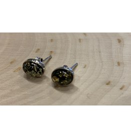 Green Amber Studs (Oval)