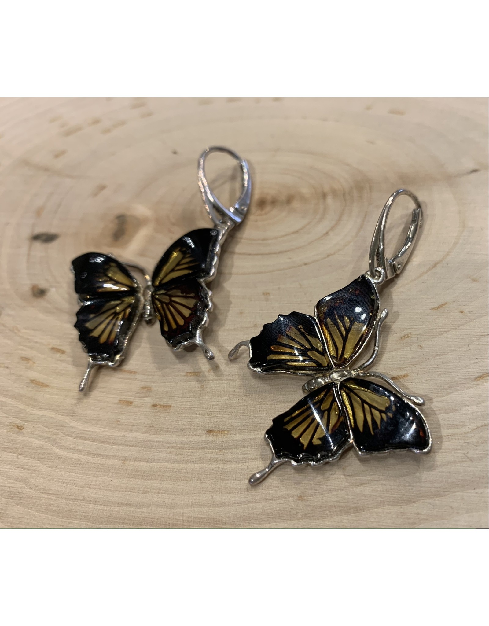 Etched Amber Butterfly Earrings