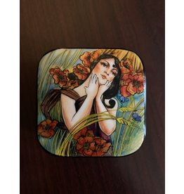 Lacquer Box with Summer Maiden (Square)