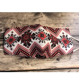 Ukrainian Embroidered Mask (Red and Black)