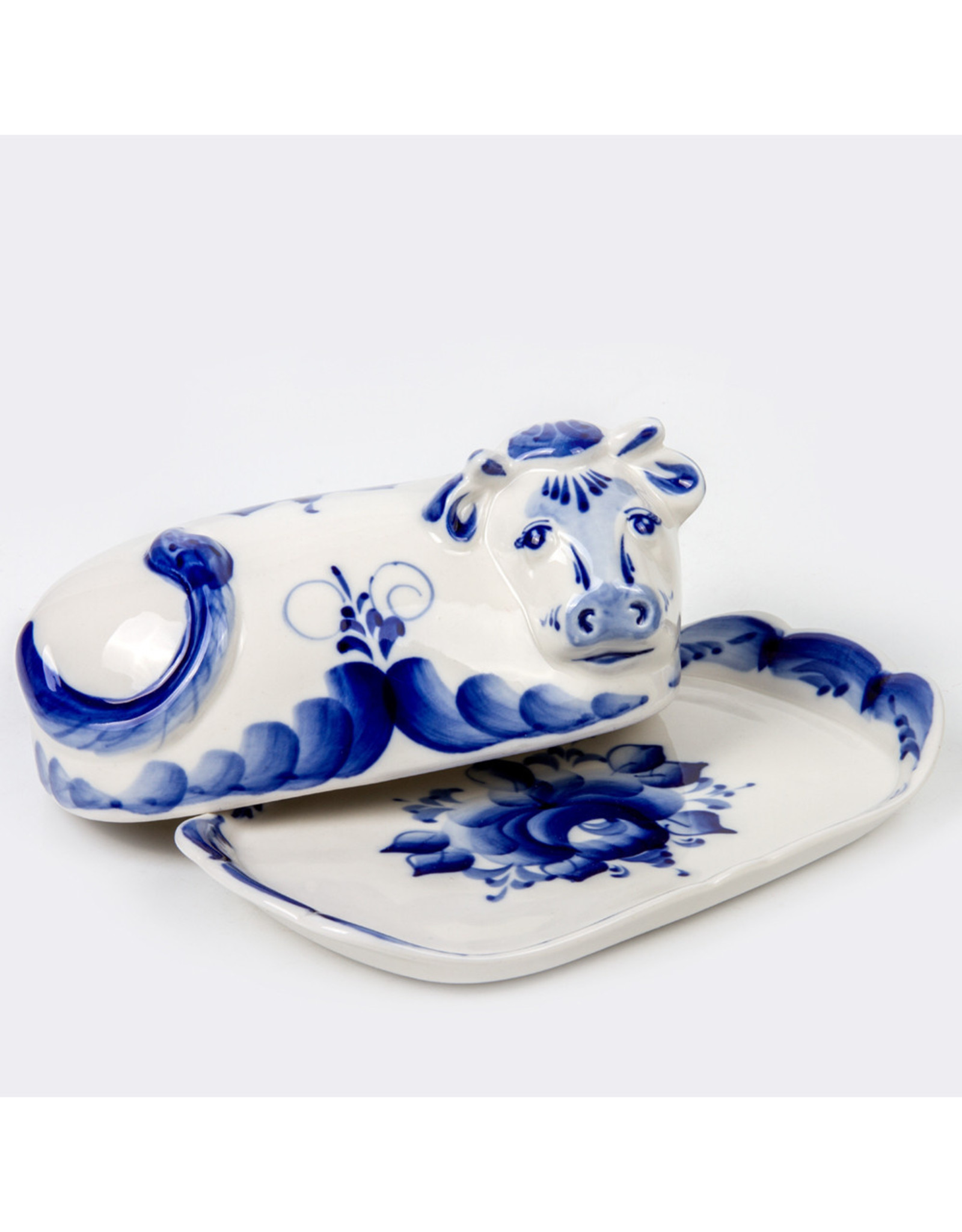 Gzhel Cow Butter Dish