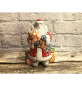Kitmir Santa with Cat and Gifts Figurine in Red