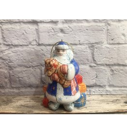 Kitmir Santa with Cat and Gifts Ornament in Blue