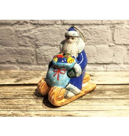 Kitmir Santa on Sled Ornament in Blue