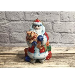 Kitmir Santa with Cat and Gifts Ornament in Red