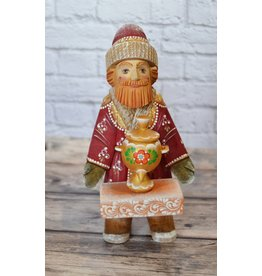 Young Santa with Samovar Hand Carved Traditional