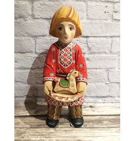 Hand Carved Russian Folk Art Boy with Rocking Horse