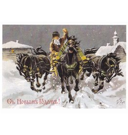 New Year's Notecard Troika with Black Horses