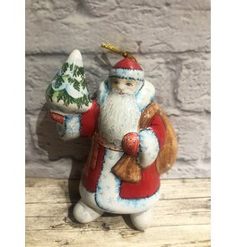 Kitmir Santa with Tree Ornament in Red Large