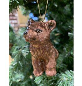 Kitmir Seated Bear Ornament (Dark Brown)