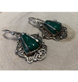 Malachite Filigree Earrings
