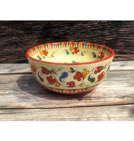 Vintage Hand Painted Folk Art Birch Bowl