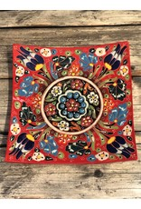 Black Sea Pottery Square Relief Plate in Red