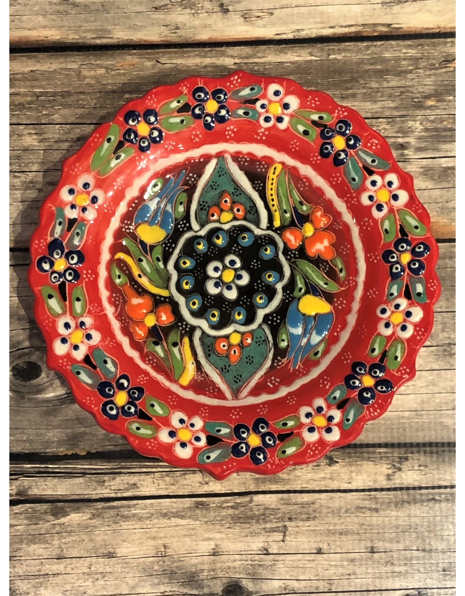 Black Sea Pottery Small Relief Plate in Red