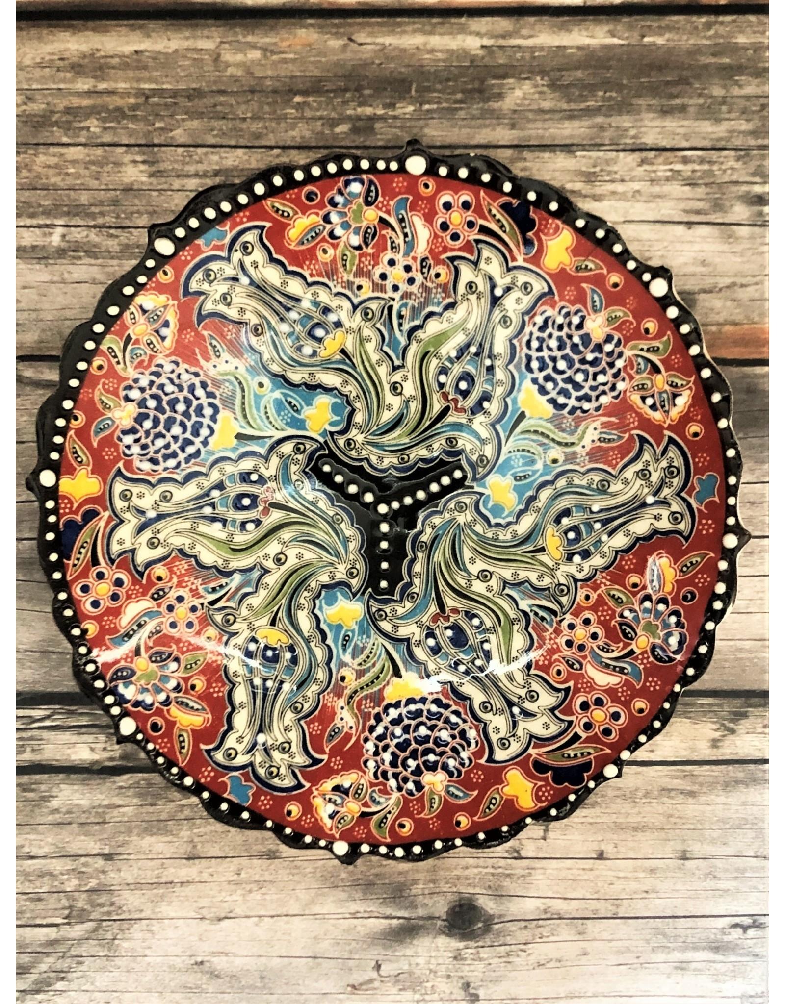 Black Sea Pottery Small Relief Plate in Ochre