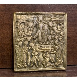 "Vintage Brass Russian Icon ""Dormition"""