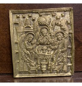 """Vintage Brass Russian Icon """"The Old Testament Trinity"""""""