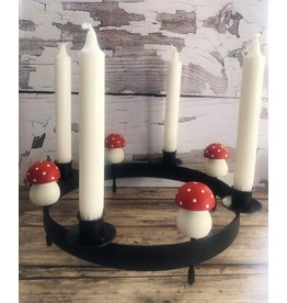 Round Iron Candle Holder with Mushrooms