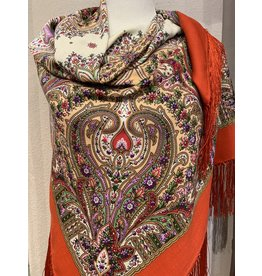 Traditional Russian Wool Scarf (Red Paisley)